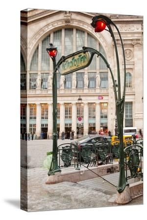 The Art Nouveau Entrance to Gare Du Nord Metro Station with the Main Railway Station Behind-Julian Elliott-Stretched Canvas Print
