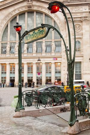 The Art Nouveau Entrance to Gare Du Nord Metro Station with the Main Railway Station Behind-Julian Elliott-Premium Photographic Print