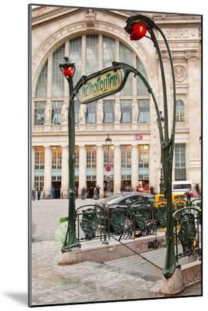 The Art Nouveau Entrance to Gare Du Nord Metro Station with the Main Railway Station Behind-Julian Elliott-Mounted Photographic Print
