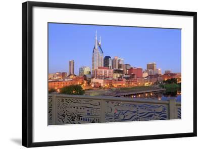 Nashville Skyline and Shelby Pedestrian Bridge-Richard Cummins-Framed Photographic Print
