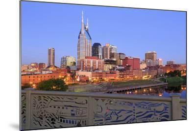Nashville Skyline and Shelby Pedestrian Bridge-Richard Cummins-Mounted Photographic Print