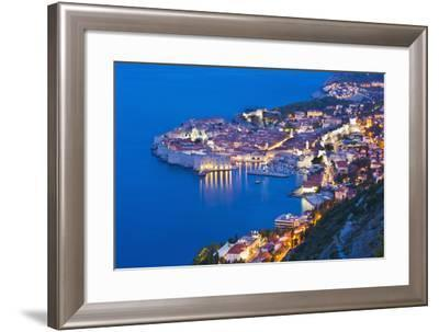 Dubrovnik Old Town at Night, Taken from Zarkovica Hill, Dalmatian Coast, Adriatic, Croatia, Europe-Matthew Williams-Ellis-Framed Photographic Print