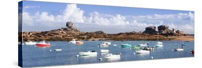The Natural Monument Le De and Fishing Boats, Tregastel, Cotes D'Armor, Brittany, France, Europe-Markus Lange-Stretched Canvas Print
