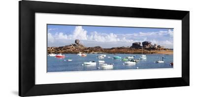 The Natural Monument Le De and Fishing Boats, Tregastel, Cotes D'Armor, Brittany, France, Europe-Markus Lange-Framed Photographic Print