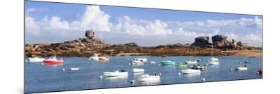 The Natural Monument Le De and Fishing Boats, Tregastel, Cotes D'Armor, Brittany, France, Europe-Markus Lange-Mounted Photographic Print