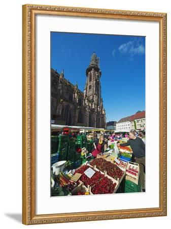 Saturday Market, Freiburg Cathedral, Freiburg, Baden-Wurttemberg, Germany, Europe-Christian Kober-Framed Photographic Print