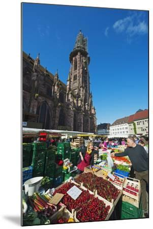Saturday Market, Freiburg Cathedral, Freiburg, Baden-Wurttemberg, Germany, Europe-Christian Kober-Mounted Photographic Print