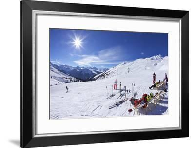Skiers Relaxing at Cafe in Winter Sunshine, Verdons Sud, La Plagne, French Alps, France, Europe-Peter Barritt-Framed Photographic Print