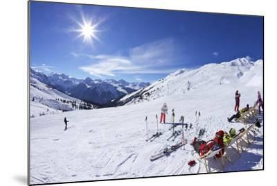 Skiers Relaxing at Cafe in Winter Sunshine, Verdons Sud, La Plagne, French Alps, France, Europe-Peter Barritt-Mounted Photographic Print