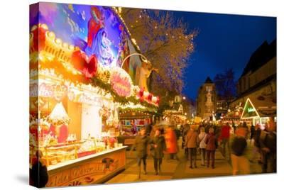 Christmas Market at Dusk, Willy Brandt Platz, Dortmund, North Rhine-Westphalia, Germany, Europe-Frank Fell-Stretched Canvas Print