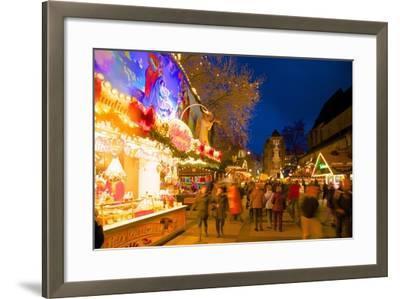 Christmas Market at Dusk, Willy Brandt Platz, Dortmund, North Rhine-Westphalia, Germany, Europe-Frank Fell-Framed Photographic Print