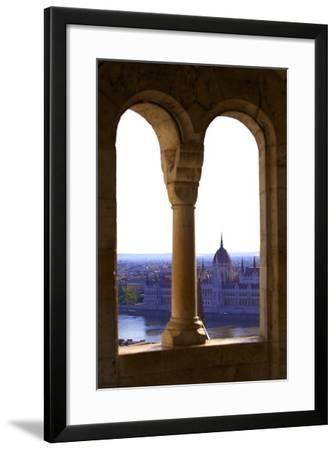View of Hungarian Parliament Building from Fisherman's Bastion, Budapest, Hungary, Europe-Neil Farrin-Framed Photographic Print