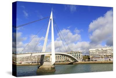 Pedestrian Bridge over the Commerce Basin, Le Havre, Normandy, France, Europe-Richard Cummins-Stretched Canvas Print