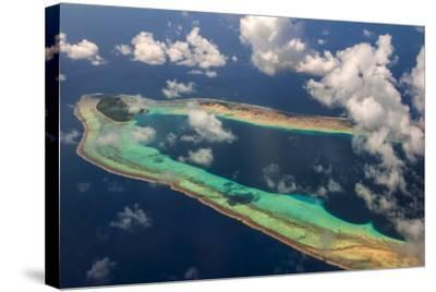 Aerial of the Very Beautiful Ant Atoll, Pohnpei, Micronesia, Pacific-Michael Runkel-Stretched Canvas Print