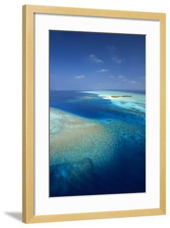 Aerial View of Tropical Island and Lagoon, Maldives, Indian Ocean, Asia-Sakis Papadopoulos-Framed Photographic Print