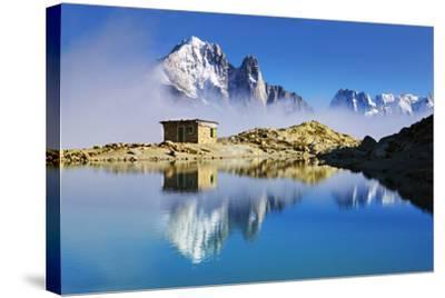 Mountain Landscape, Lac Blanc, Aiguille Vert and Les Drus with Clouds Rising, Haute Savoie, France-Frank Krahmer-Stretched Canvas Print