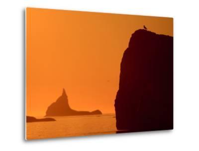 Icebergs Silhouetted at Sunset, Disko Bay, Greenland, August 2009-Jensen-Metal Print