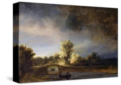 The Stone Bridge-Rembrandt van Rijn-Stretched Canvas Print