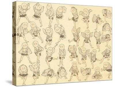 Men Dancing-Katsushika Hokusai-Stretched Canvas Print