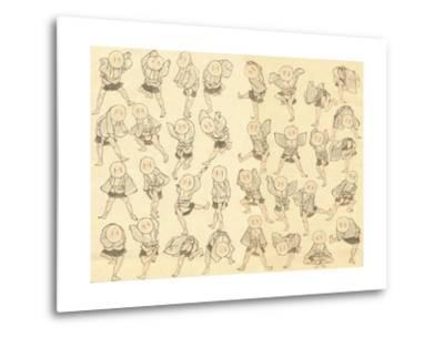Men Dancing-Katsushika Hokusai-Metal Print