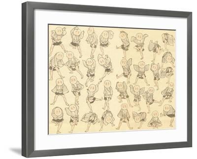 Men Dancing-Katsushika Hokusai-Framed Giclee Print