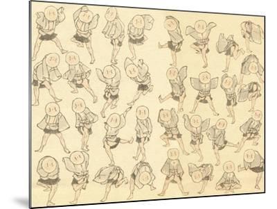 Men Dancing-Katsushika Hokusai-Mounted Giclee Print
