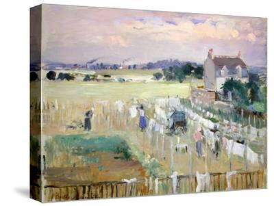 Hanging the Laundry Out to Dry-Berthe Morisot-Stretched Canvas Print