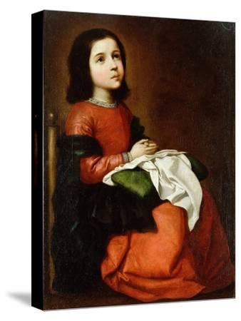 Virgin Mary as a Child-Francisco de Zurbaran-Stretched Canvas Print