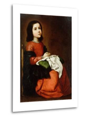 Virgin Mary as a Child-Francisco de Zurbaran-Metal Print