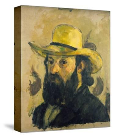 Self-Portrait in a Straw Hat-Paul C?zanne-Stretched Canvas Print