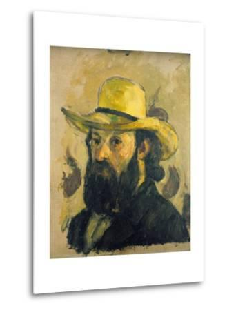 Self-Portrait in a Straw Hat-Paul C?zanne-Metal Print