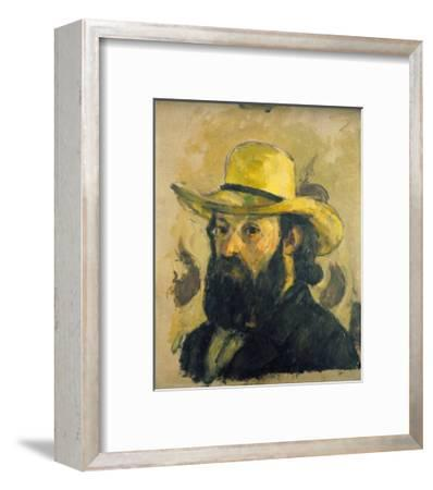 Self-Portrait in a Straw Hat-Paul C?zanne-Framed Giclee Print