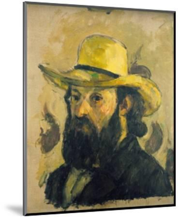 Self-Portrait in a Straw Hat-Paul C?zanne-Mounted Giclee Print