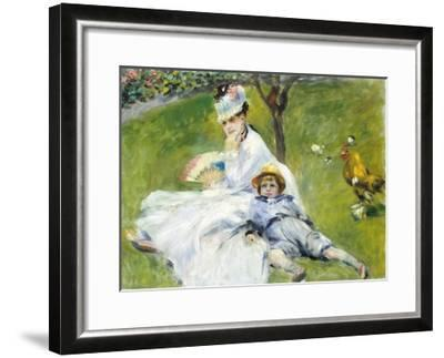 Madame Monet and Her Son-Pierre-Auguste Renoir-Framed Giclee Print