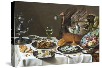 Still Life with Turkey Pie-Pieter Claesz-Stretched Canvas Print