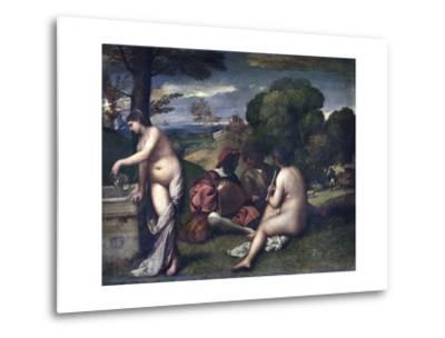 Le Concert Champetre, or the Pastoral Concert-Giorgione and Titian-Metal Print