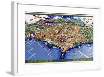 Chicago World's Fair Map--Framed Giclee Print