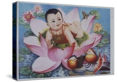 Chinese New Year's Poster with Baby in Lotus Blossom--Stretched Canvas Print