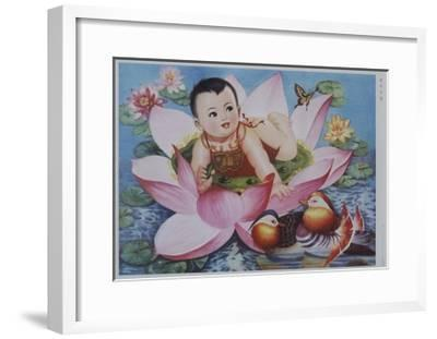 Chinese New Year's Poster with Baby in Lotus Blossom--Framed Giclee Print