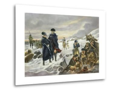 George Washington and Marquis Lafayette at Valley Forge after Alonzo Chappel--Metal Print