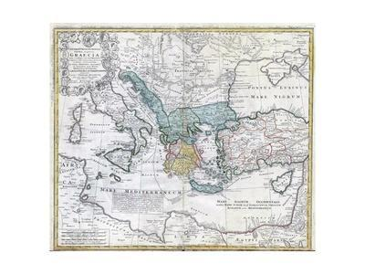 Map of the Ancient Greek World--Framed Premium Giclee Print