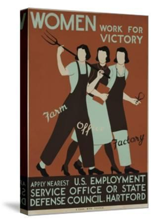 Women Work for Victory Poster--Stretched Canvas Print