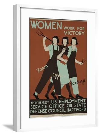 Women Work for Victory Poster--Framed Giclee Print