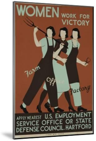 Women Work for Victory Poster--Mounted Giclee Print
