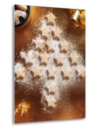 Christmas Cookies Arranged into Tree Shape-Colin Anderson-Metal Print