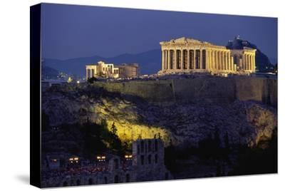 Parthenon Illuminated at Dusk-Paul Souders-Stretched Canvas Print