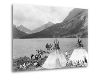 Teepee,Indians on Shore of Lake-Philip Gendreau-Metal Print