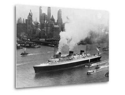 SS Normandie in New York Harbor--Metal Print