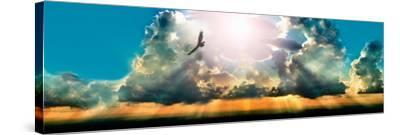 Eagle Flying in the Sky with Clouds at Sunset--Stretched Canvas Print