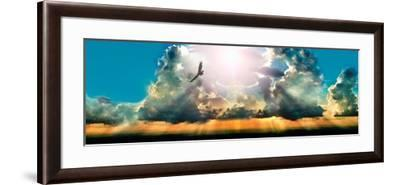 Eagle Flying in the Sky with Clouds at Sunset--Framed Photographic Print